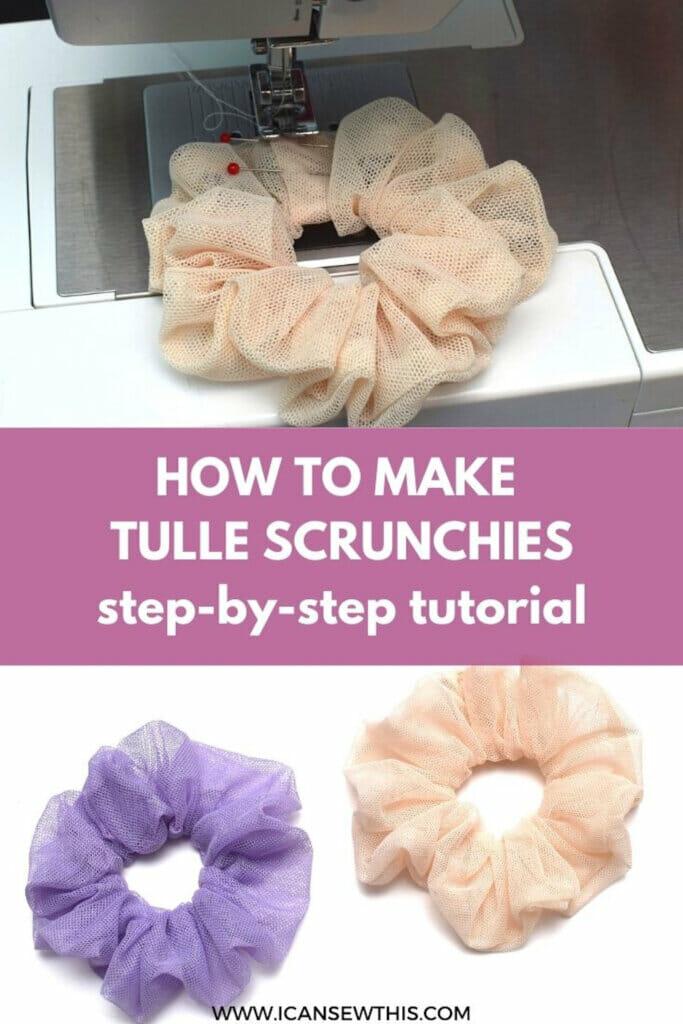DIY tulle scrunchies sewing tutorial