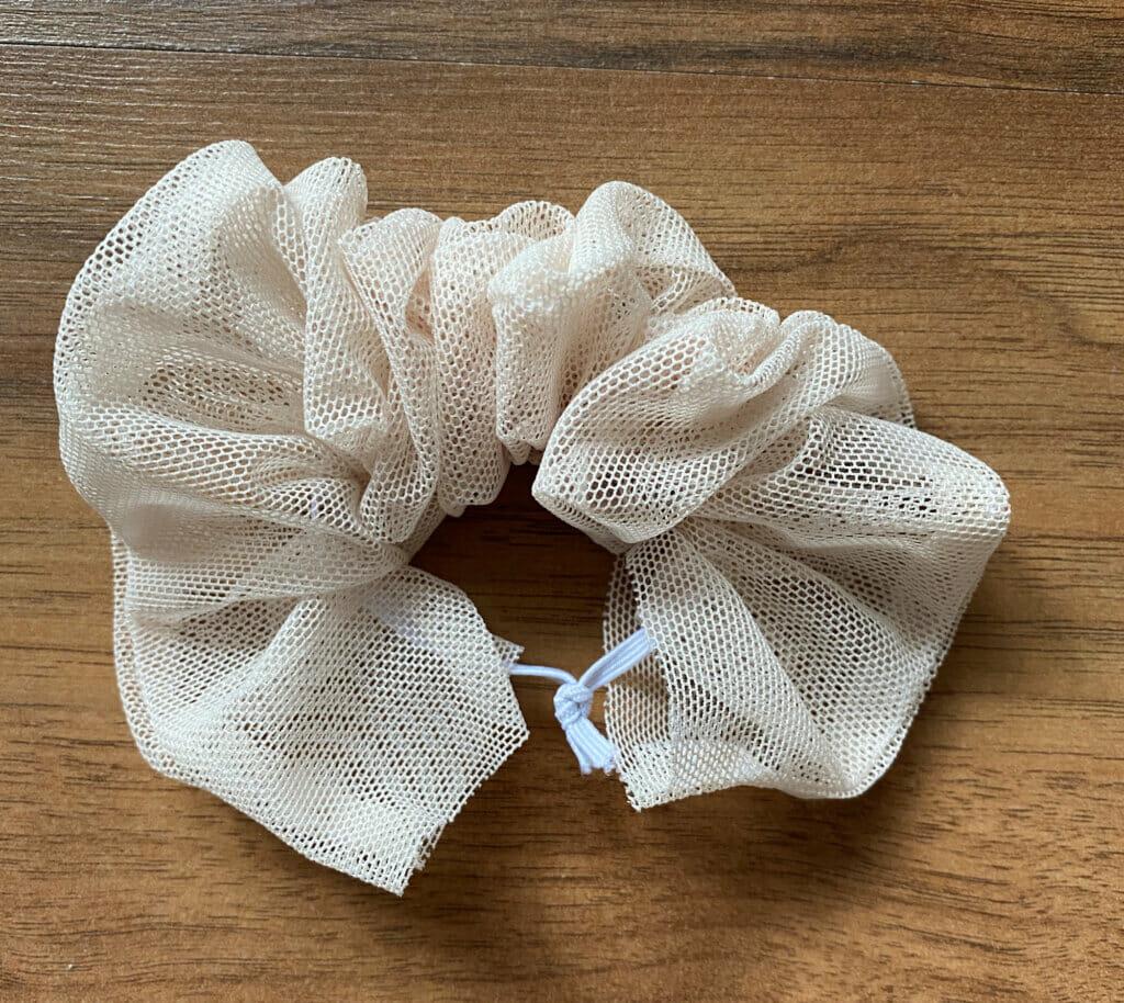 tie elastic ends, tulle scrunchie sewing tutorial
