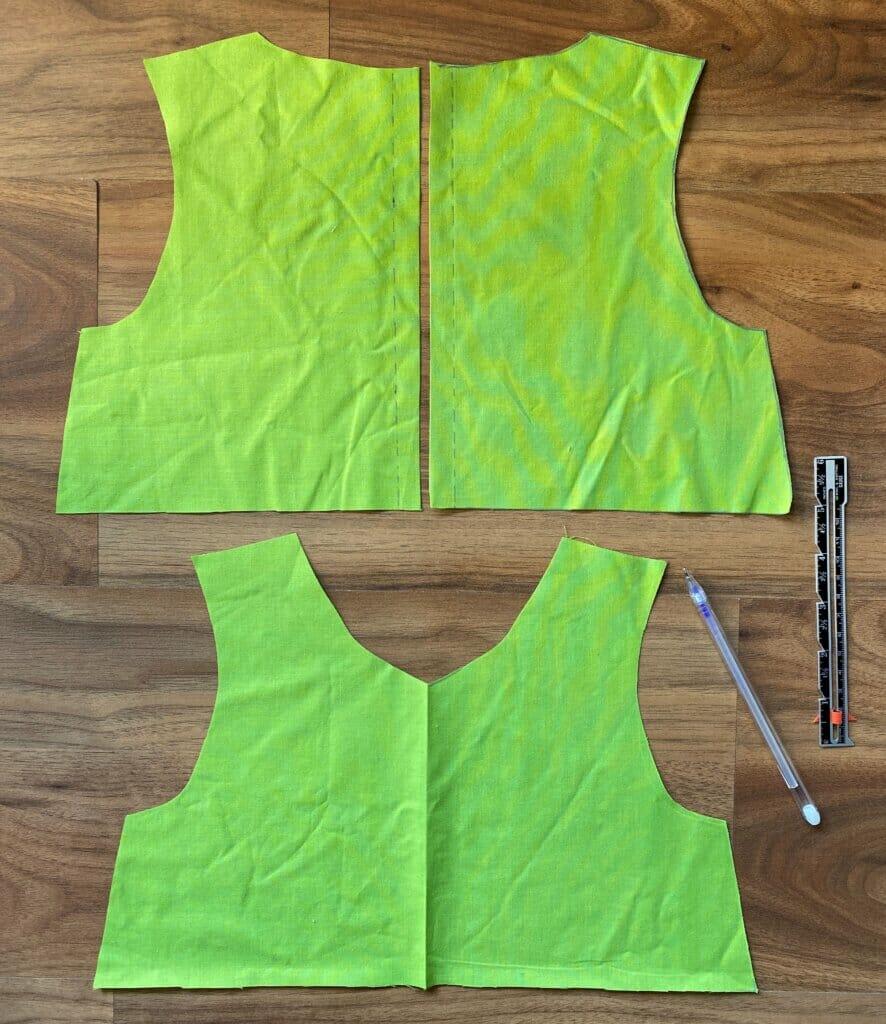 DIY gathered dress pattern pieces
