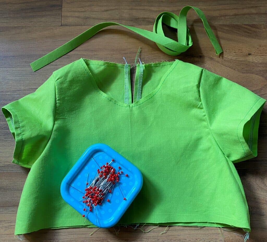 stay stitch the neckline - DIY gathered girls dress