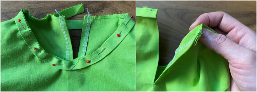 sew a bias tape neckline