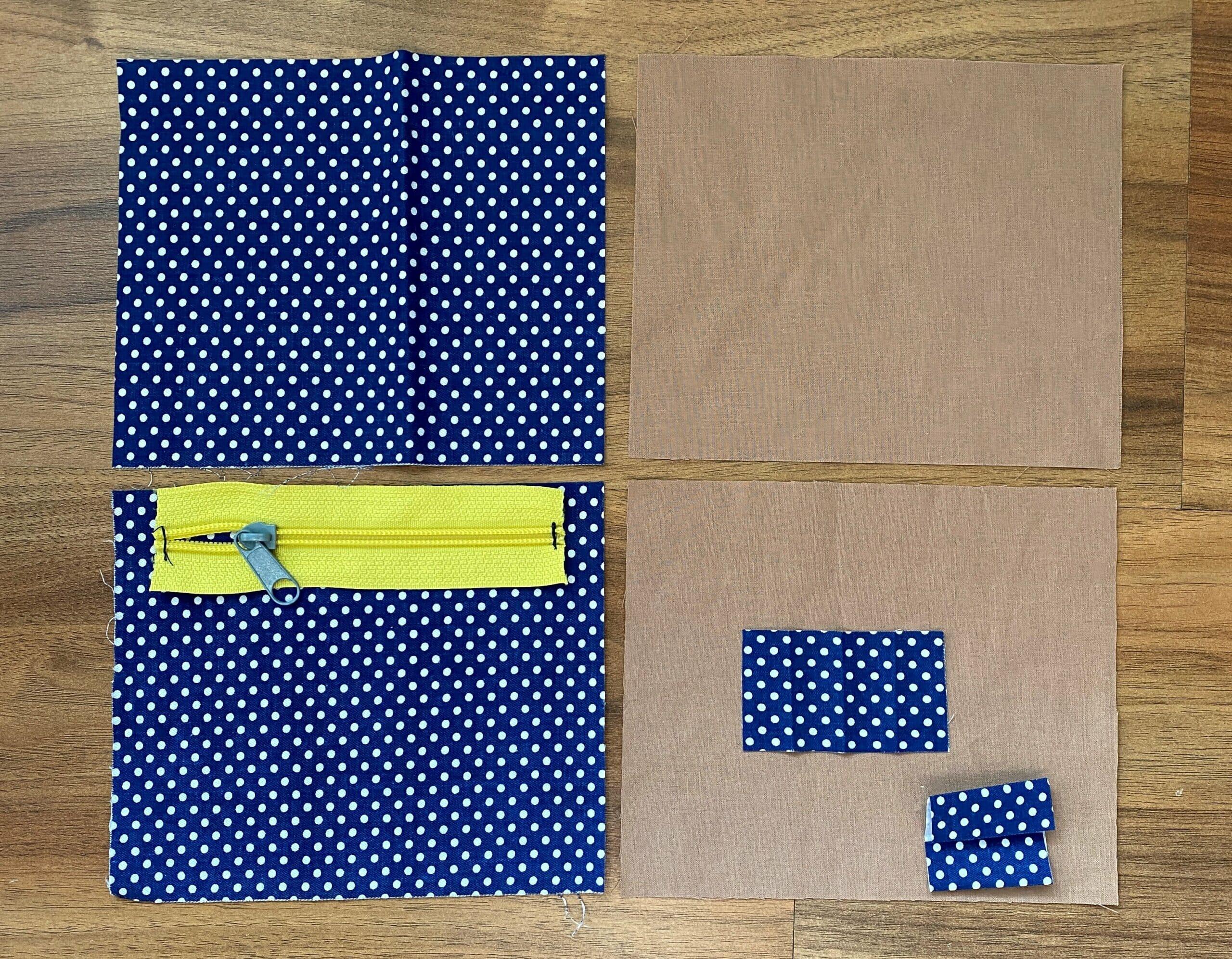 zipper pouch fabric pieces