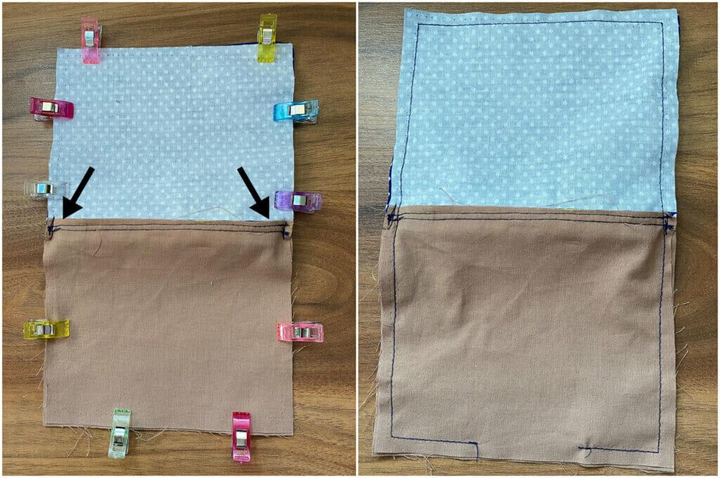 sew around the zipper pouch
