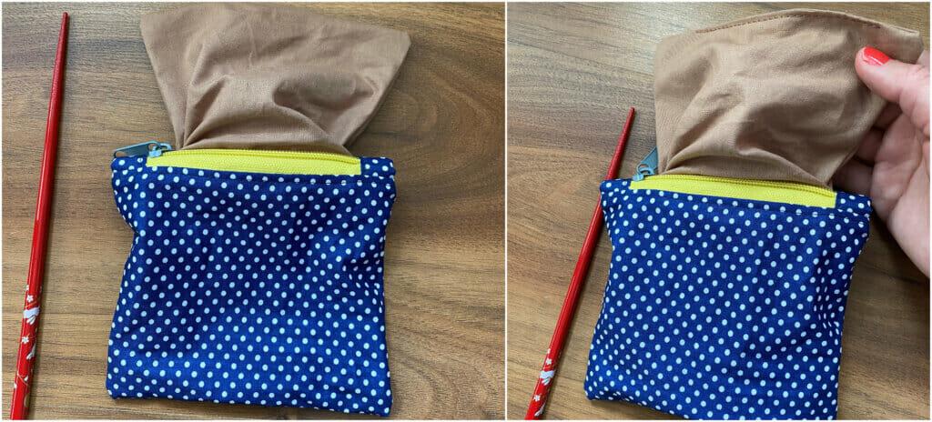 finish the zipper pouch