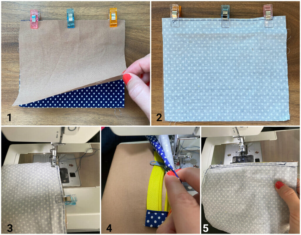 sandwich the zipper between the main fabric and lining pieces