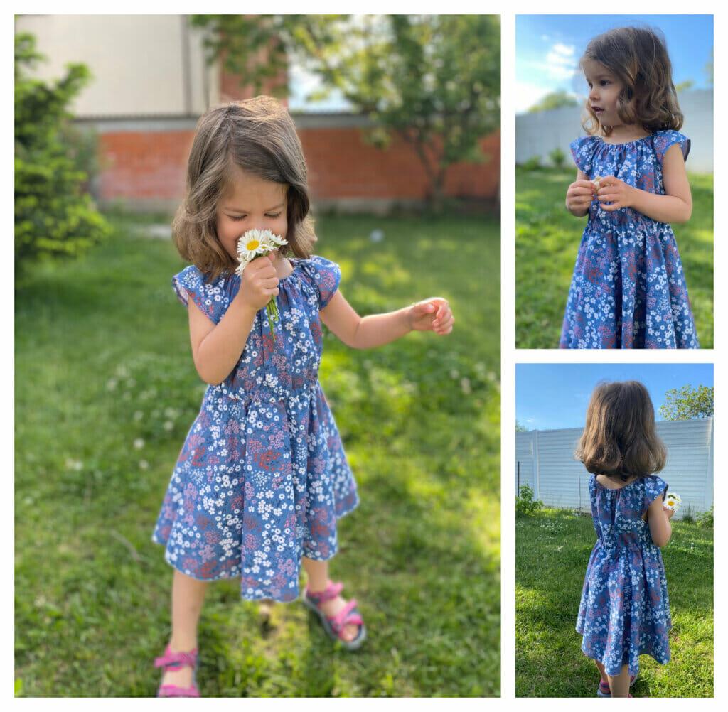 DIY little girls' dress with a circle skirt & flutter sleeves