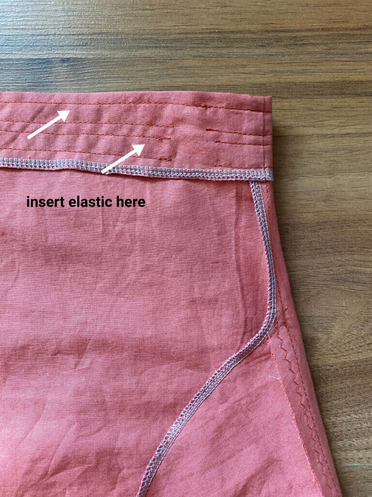 multiple rows elastic casing skirt with pockets