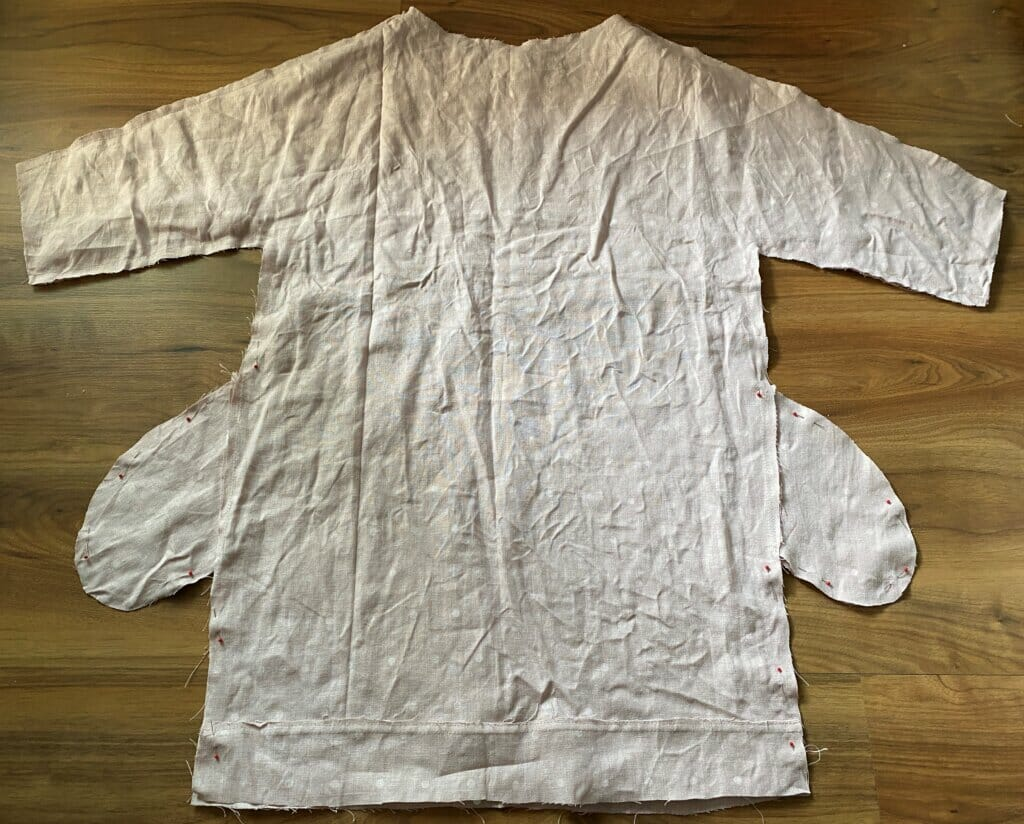 linen tunic dress with raw edges and pockets