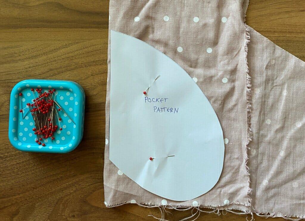 pocket pattern, sewing pins
