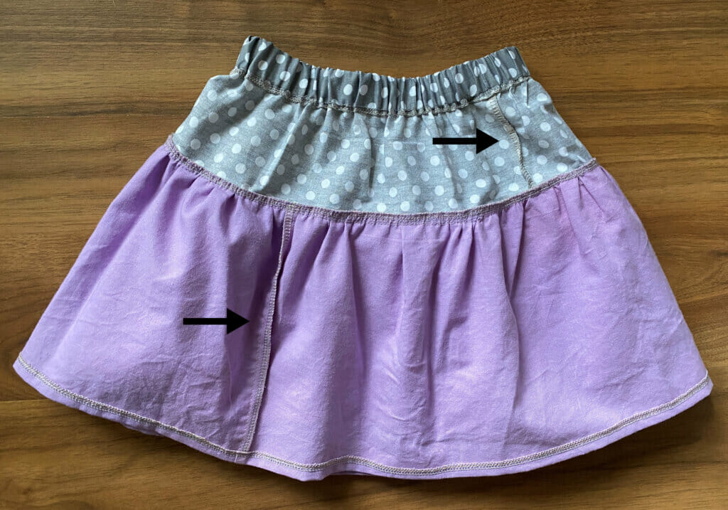 inside of a DIY tiered ruffle skirt
