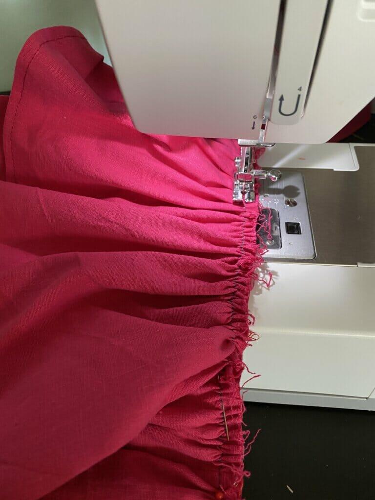 sewing machine, pink ruffles