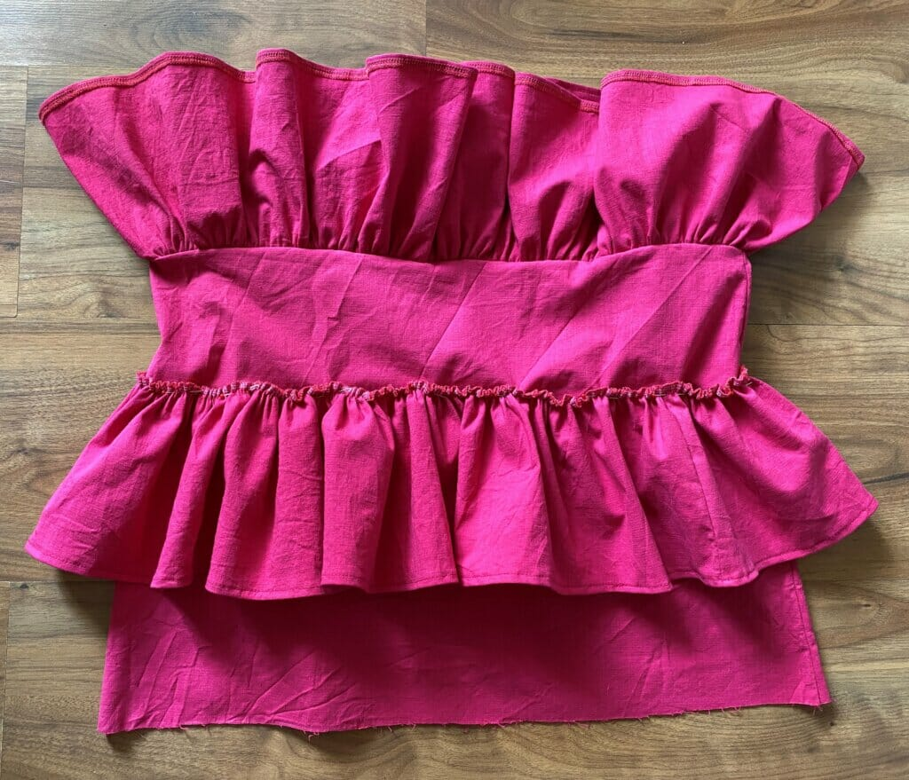 sewing ruffles to the skirt