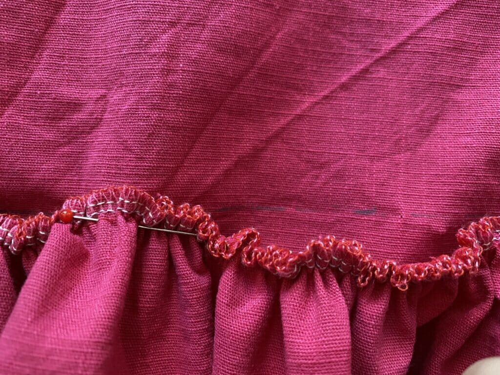 sewing a ruffle piece