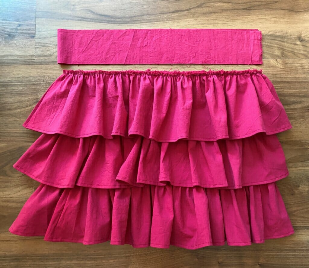 attach the waistband to the tiered ruffle skirt