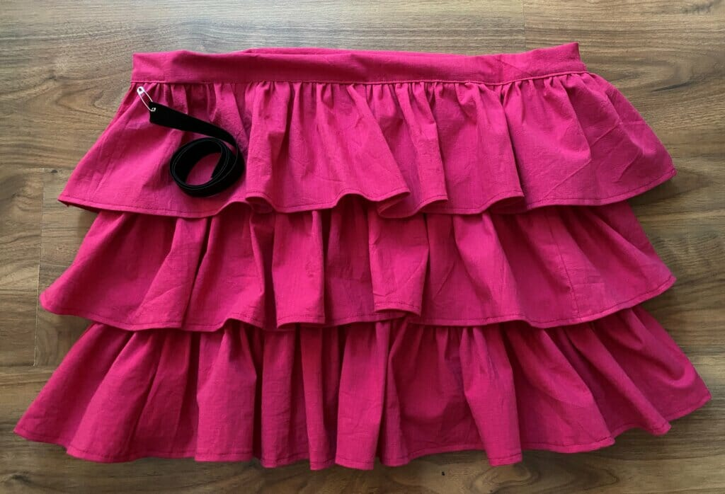 DIY tiered skirt with elastic waistband