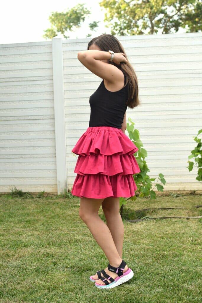 DIY sewing tiered ruffle skirt