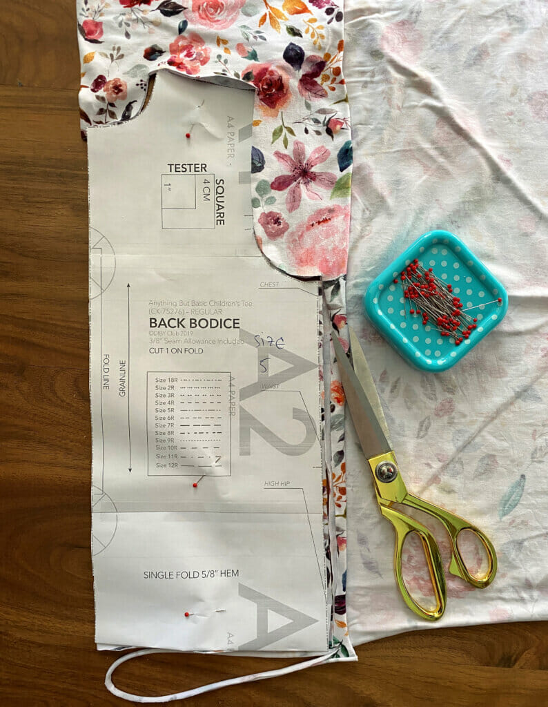 cut pattern pieces for DIY T-shirt